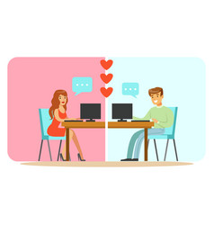 man and woman chatting on their computers colorful vector image