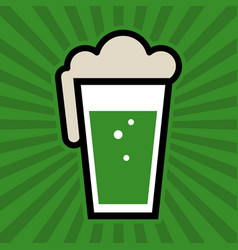 Green irish beer pint glass icon vector