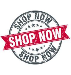 Shop now round grunge ribbon stamp vector