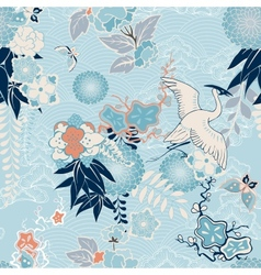 Kimono background with crane and flowers vector