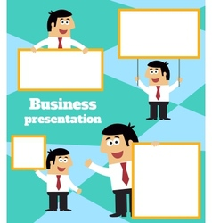 Businessman with blank sign banner and placard vector
