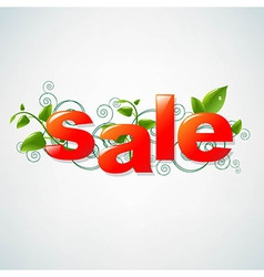 Sale Poster With Green Leaves vector image