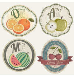 Vintage Label Collection with Fruit vector image