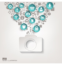 Photocamera icon flat abstract background with vector