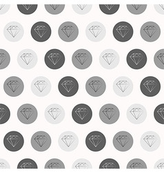 Hand drawn diamonds with circles seamless pattern vector