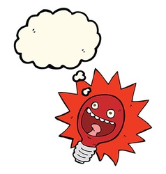 Cartoon red lightbulb with thought bubble vector