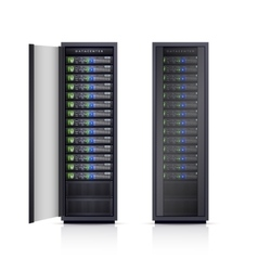 Two black server racks realistic vector