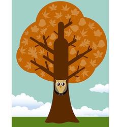 Autumn tree with owl vector