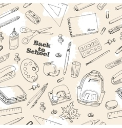 Back to School doodles seamless pattern vector image