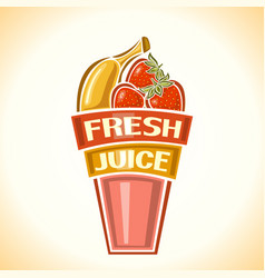 banana strawberry fresh juice vector image