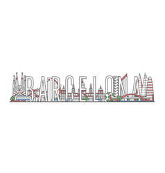 barcelona travel lettering in linear style vector image