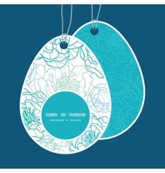 Blue line art flowers easter egg shaped vector