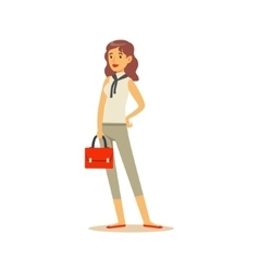 Businesswoman with handbag business office vector