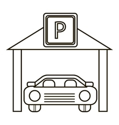 Car parking icon outline style vector
