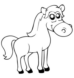 Cartoon farm animals cute horse smileseps 10 vector