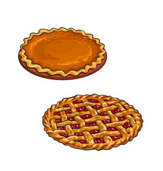 Cherry and pumpkin pie thanksgiving dessert vector