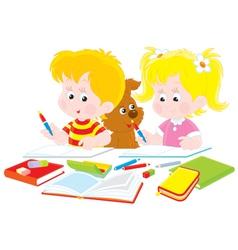Children do homework vector image