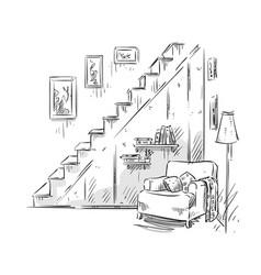 comfortable armchair interior design vector image vector image