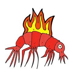 Comic cartoon hot shrimp vector