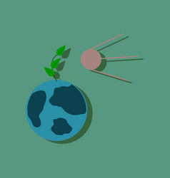 Flat icon design collection satellite and earth vector