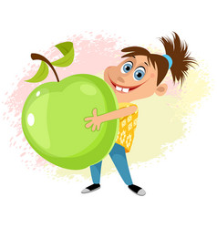 girl with an apple vector image vector image