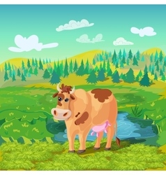 Grazing Cow Cartoon Composition vector image vector image