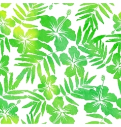 Green watercolor hibiscus seamless pattern vector