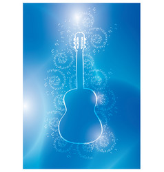 Guitar and music notes on blue background vector
