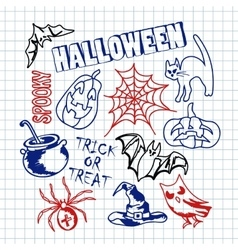 Happy halloween icons set vector