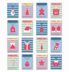 icons set of christmas cards vector image vector image