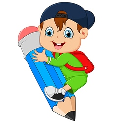 little boy holding pencil vector image