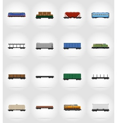 Railway transport flat icons 17 vector