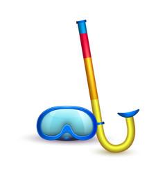 realistic scuba diving mask goggles snorkel vector image