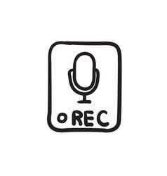 Record button sketch icon vector