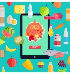 Sale in online food market flat style concept vector