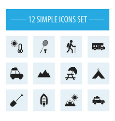 Set of 12 editable trip icons includes symbols vector