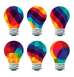 set of colorful bulb icons vector image vector image