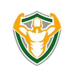 Strongman flexing muscles crest icon vector