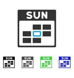 Sunday calendar grid flat icon vector