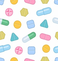 Tablets and pills seamless pattern vector