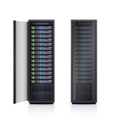 Two black server racks realistic vector