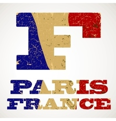 Vintage lettering f and france flag vector