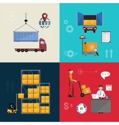 Warehousing and logistics processes vector image