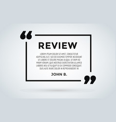 website review quote citation blank template vector image vector image
