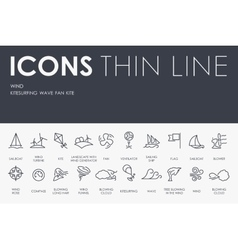 Wind thin line icons vector