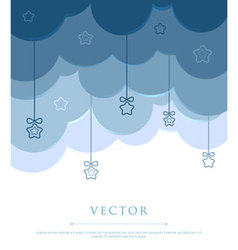 clouds with stars vector image