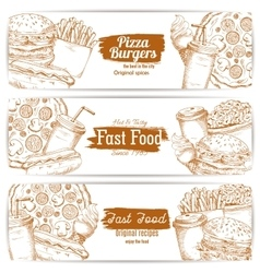 Fast food dishes with drinks and dessert banner vector