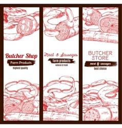 Butchery butcher shop meat sausages banners sketch vector
