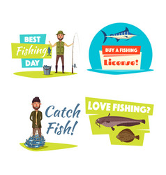 Fishing sport and hobby cartoon icon set design vector
