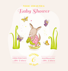 Baby girl kangaroo on a horse - baby shower vector